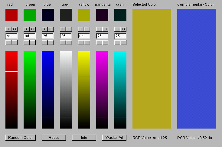With the RGB Color Mixer it is possible to define the RGB values of a Color.